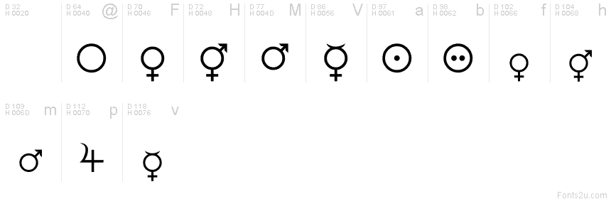 Female And Male Symbols Font