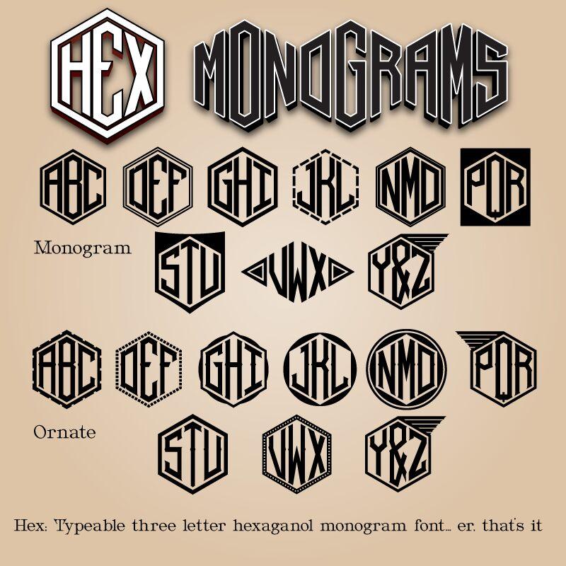 Hex Monograms Font
