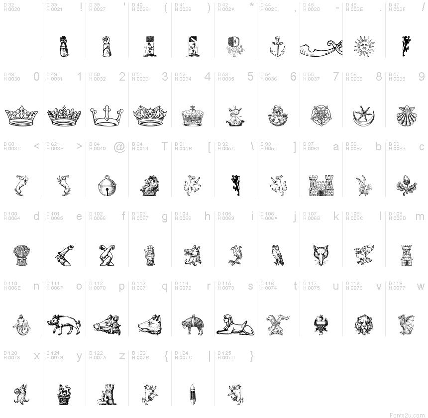 Heraldic Crests Font