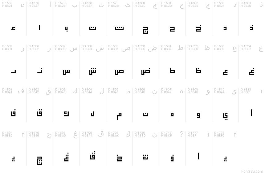 Арабський алфавіт - Таблиця символів