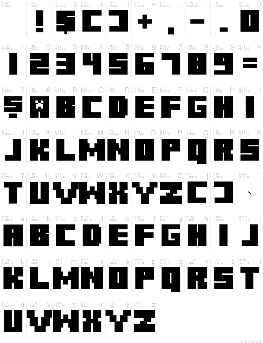 жирный майнкрафт font #9
