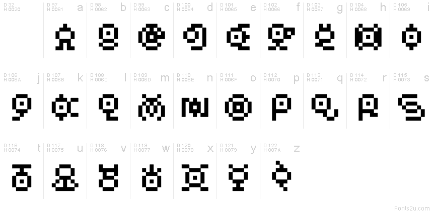 Pokemon Unown GB font