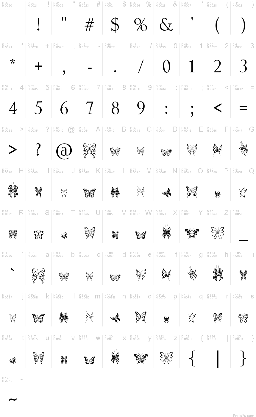 Tribal butterflies font basic font information biocorpaavc Image collections