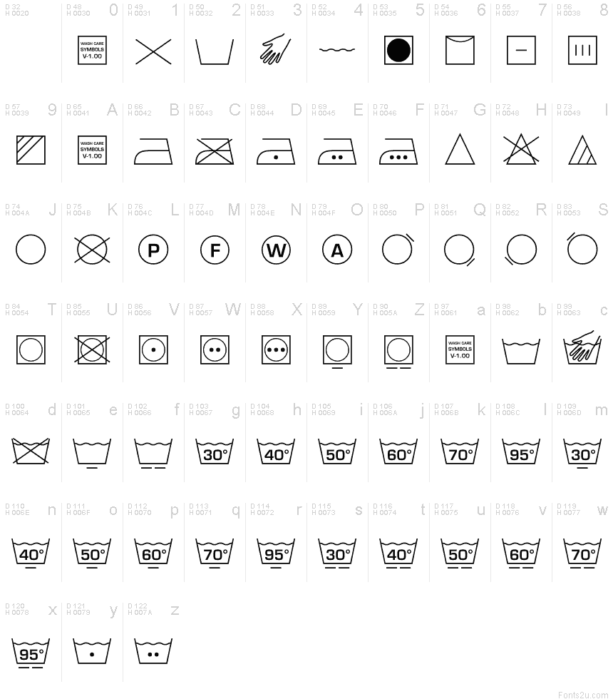 Wash Care Symbols M54 Font