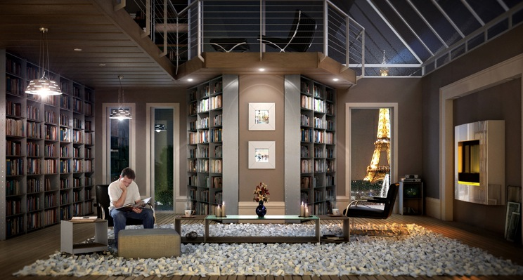 Contemporary Home Library contemporary home libraries | homeadore