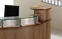 Warm Wooden Reception Desk