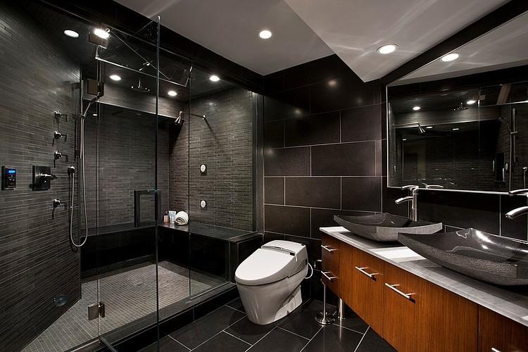 интерьер черная ванная