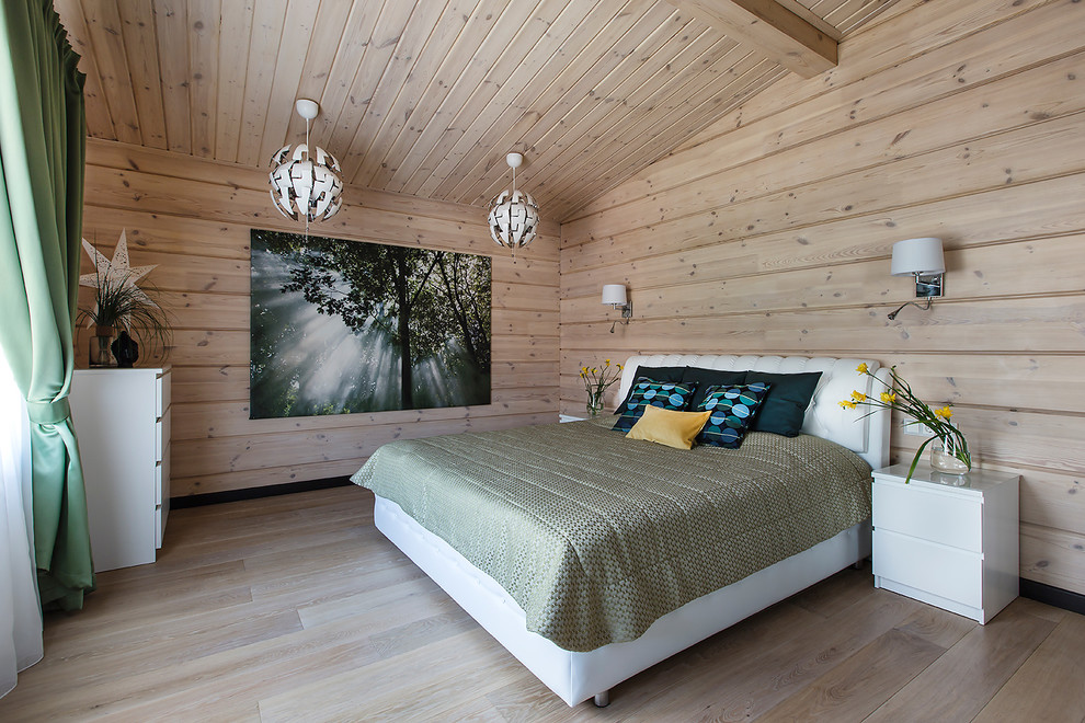 Modern cottage by noviy dom homeadore - Schlafzimmer graue wand ...